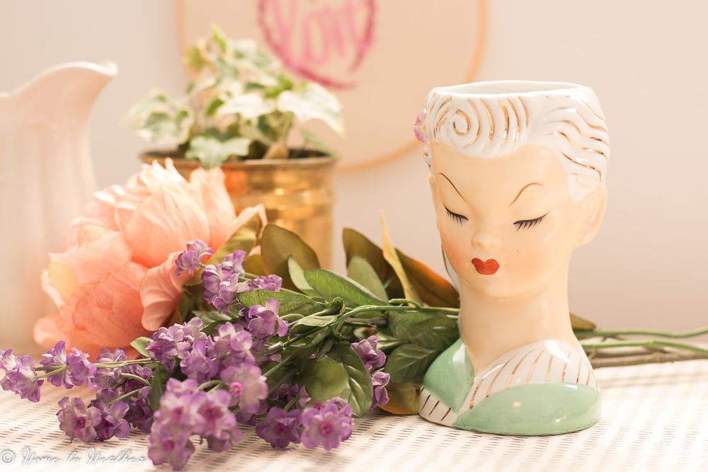 vintage lady head vase made in Japan (2)